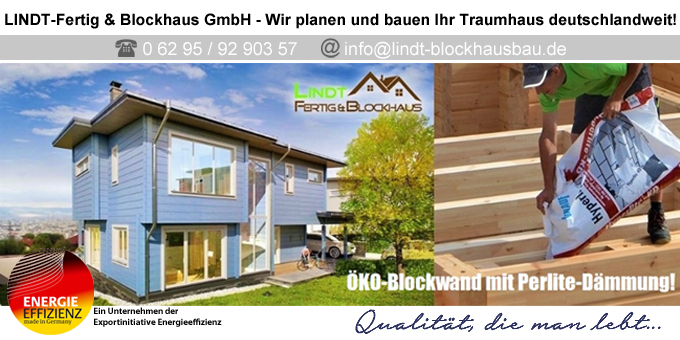 Hausbau für Burgoberbach - LINDT Fertig & Blockhaus: Holzhäuser, Fachwerkhäuser, KFW Effizienzhäuser, Fertighäuser, Massivholzhäuser