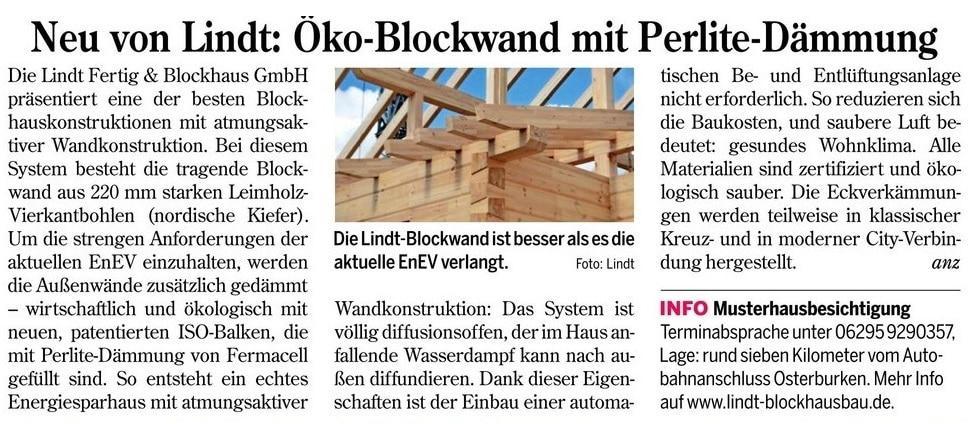 LINDT Fertig & Blockhaus GmbH baut in Saarland, Merzig, St. Wendel, Blieskastel, Lebach