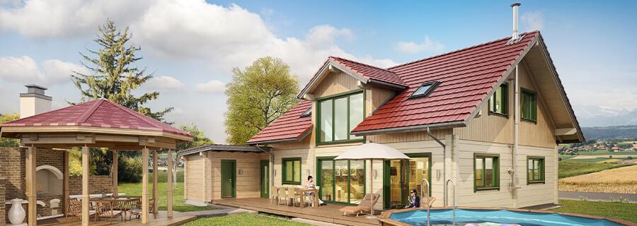 Blockhaus Preise Braunschweig, Blockhaus bauen mit LINDT, Holzhaus bauen mit, Wohnblockhaus 30100